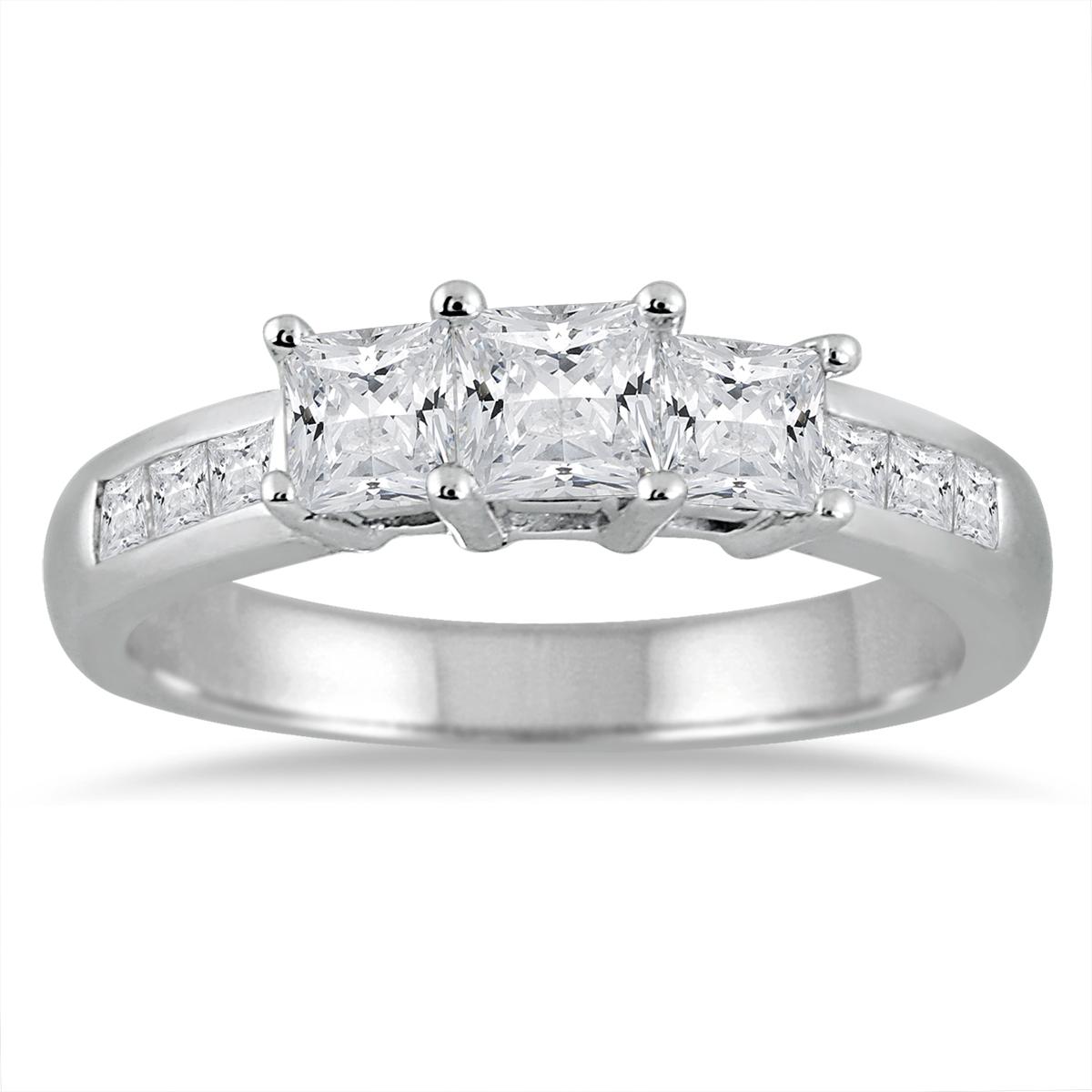 1 1/2 Carat TW Princess Cut Diamond Three Stone Ring in 14K White Gold