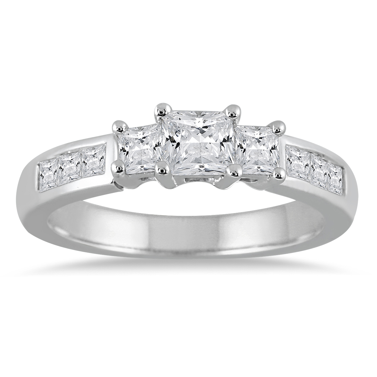 1 Carat TW Princess Cut Diamond Three