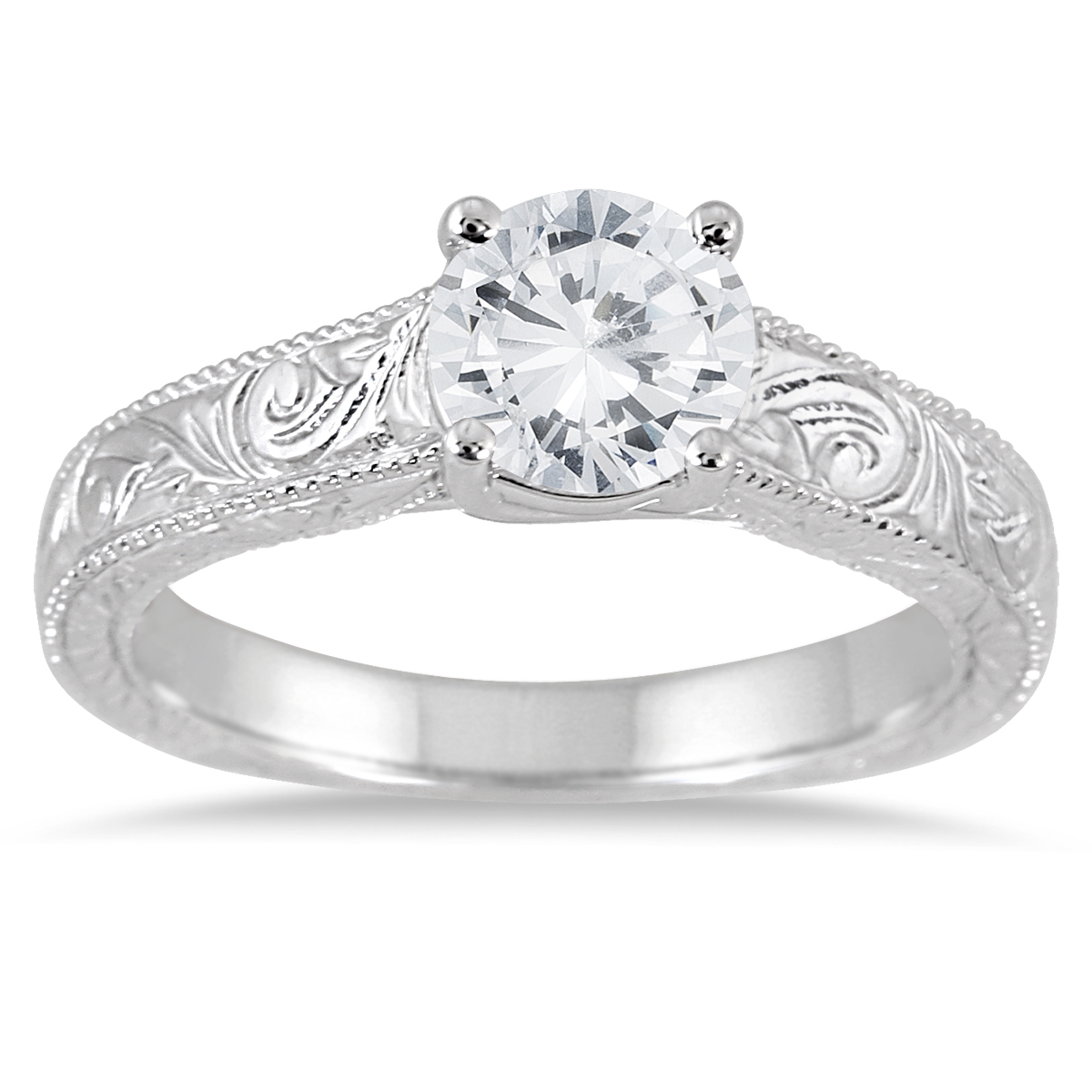 AGS Certified 1 Carat Diamond Engraved Ring in 14K White Gold (J-K Color, I2-I3 Clarity)
