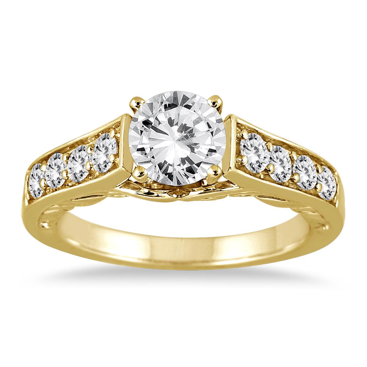 1 1/2 Carat TW Antique Diamond Ring in 14K Yellow Gold