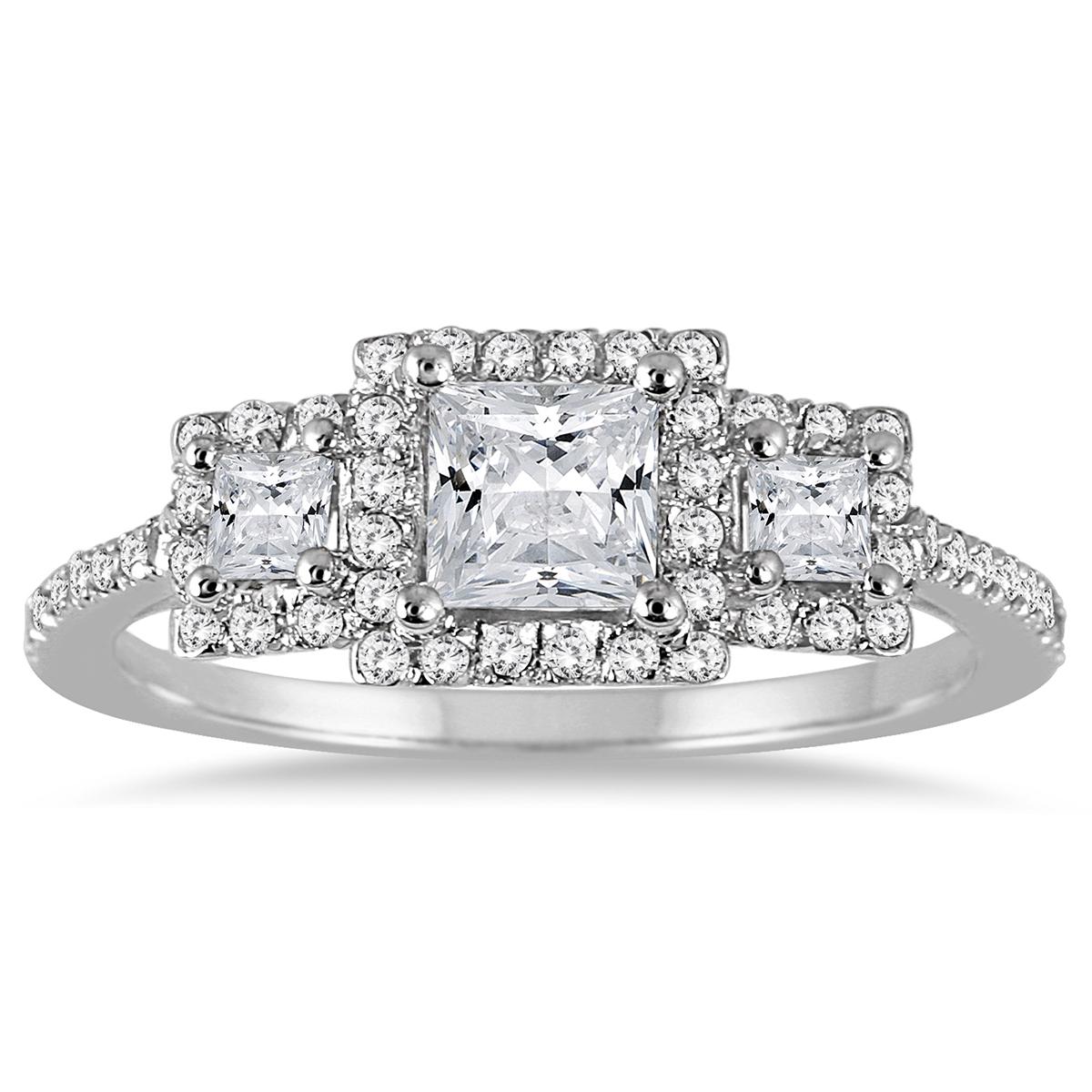 1 Carat TW Princess Diamond Three Stone
