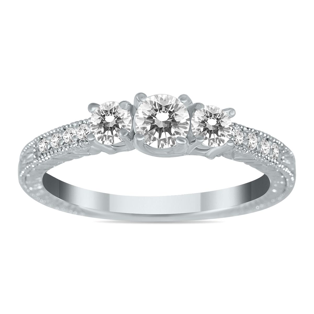 1/2 Carat TW Diamond Three Stone Ring