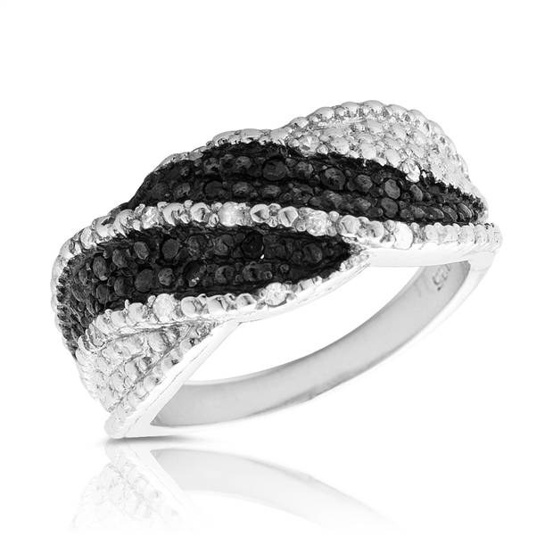 szul.com 1/4 Carat Black and White Diamond Ring in .925 Sterling Silver at Sears.com