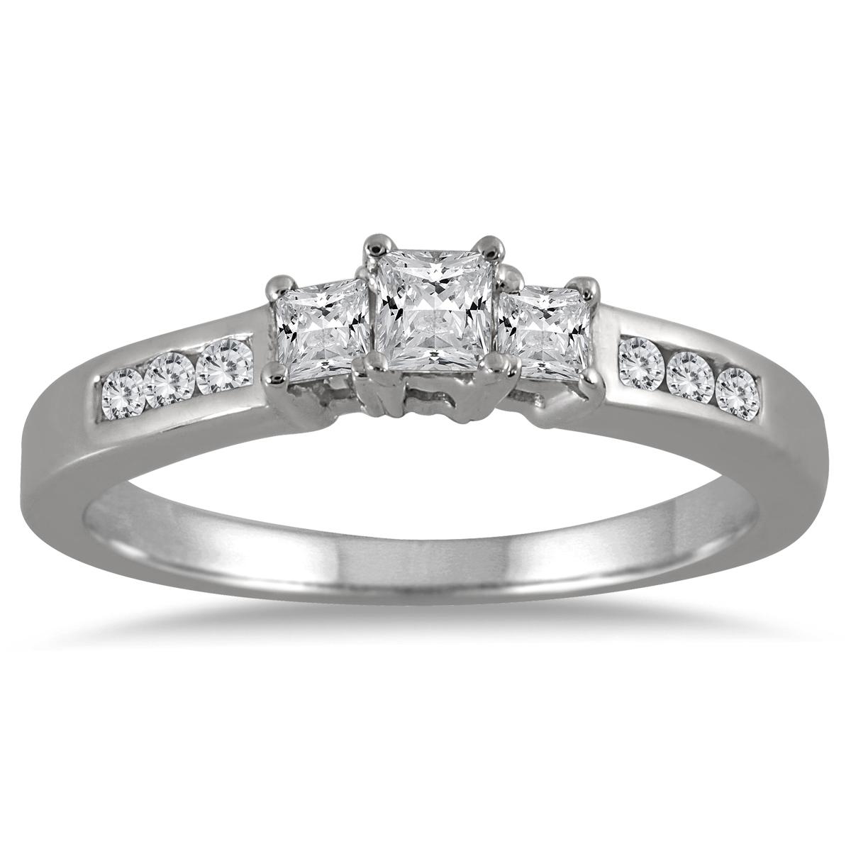 1/2 Carat TW Princess Cut Diamond Three