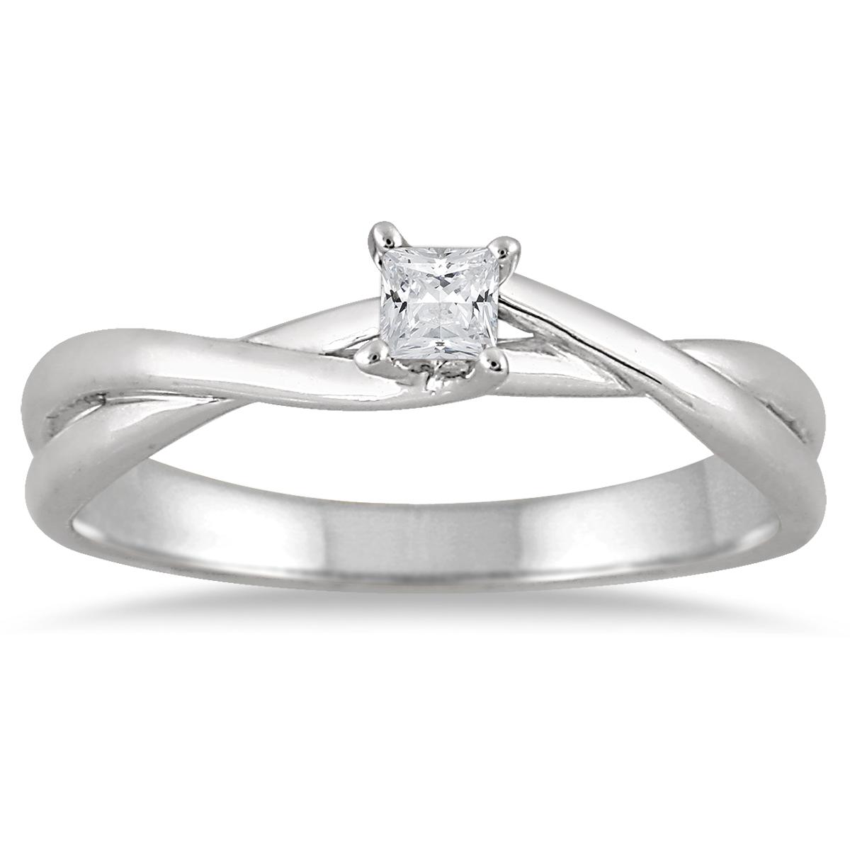 1/10 Carat Princess Diamond Solitaire Braided Ring