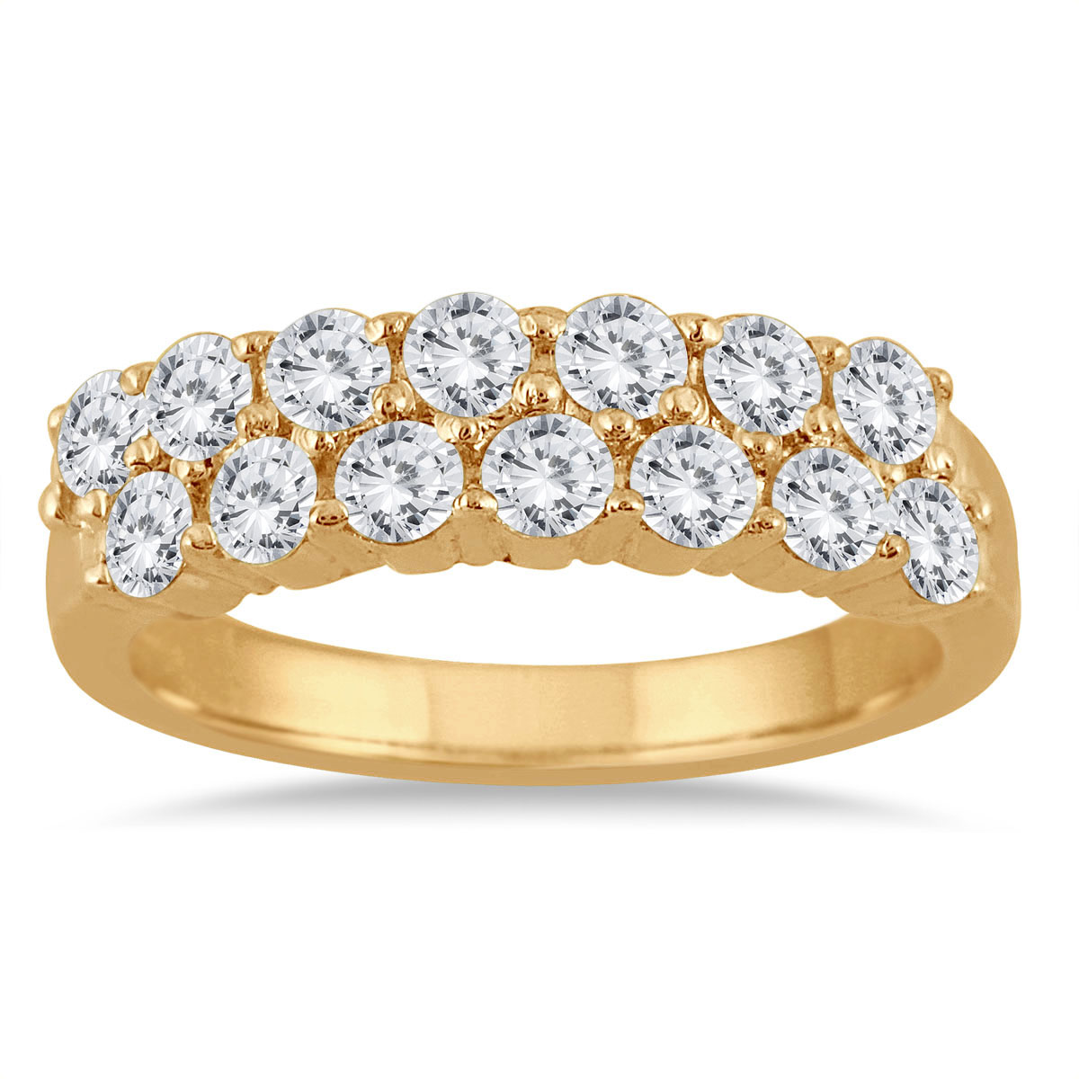 1 1/4 Carat TW Double Row Diamond Wedding Band in 10K Yellow Gold