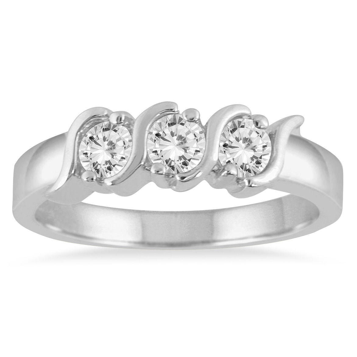 1/2 Carat TW 3 Stone S Groove Diamond Band in 10K White Gold