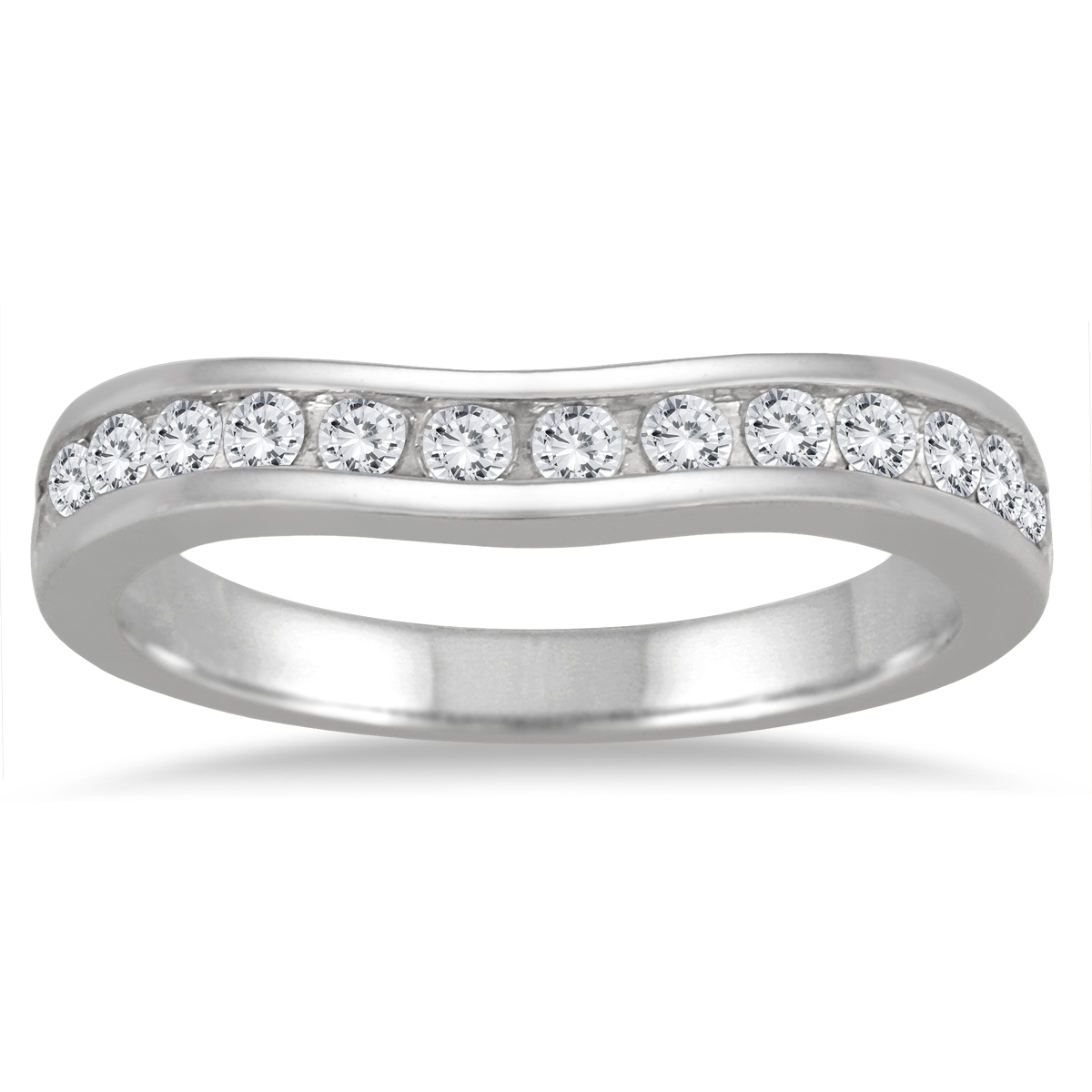 1/2 Carat TW Diamond Channel Set Curved Band in 10K White Gold