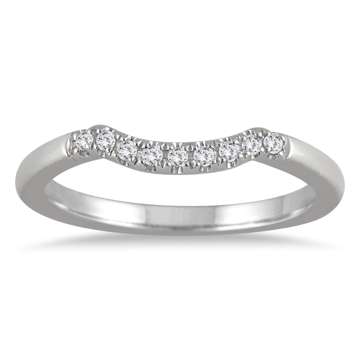 1/10 Carat TW Curved Diamond Wedding Band in 14K White Gold