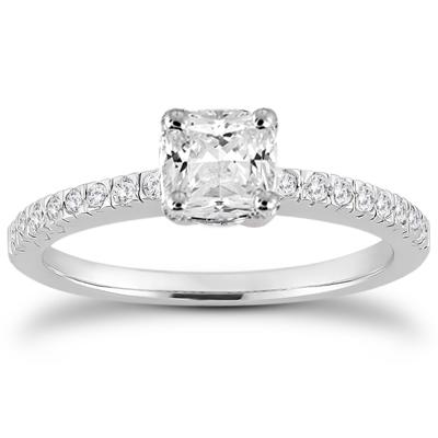 1 1/6 Carat Cushion Cut Diamond Pave Ring in 14K White Gold
