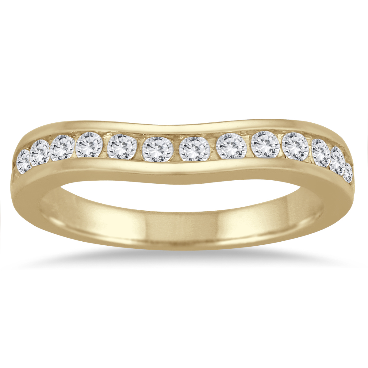 1/2 Carat TW Diamond Channel Set Curved Band in 10K Yellow Gold