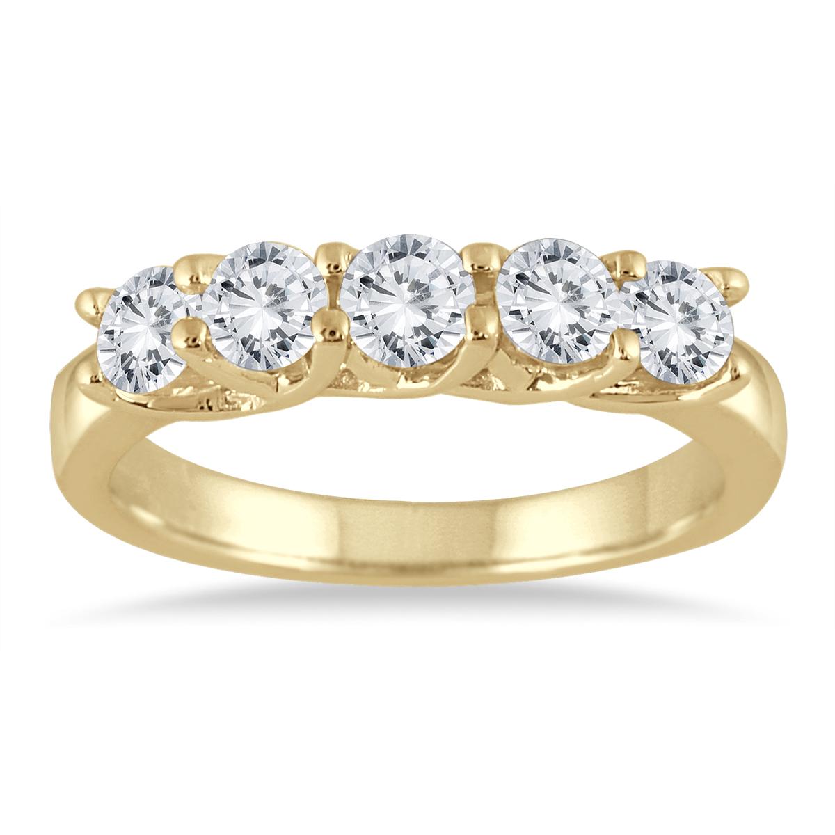1 Carat TW Five Stone Diamond Wedding Band in 10K Yellow Gold