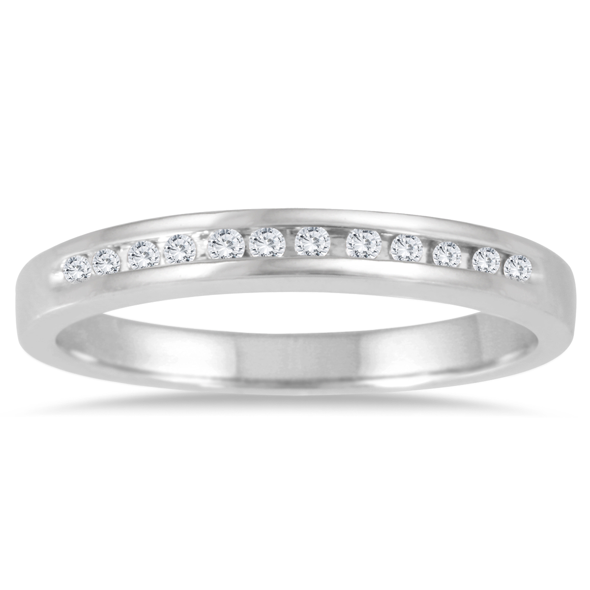 1/10 Carat TW Channel Set Diamond Band in 14K White Gold
