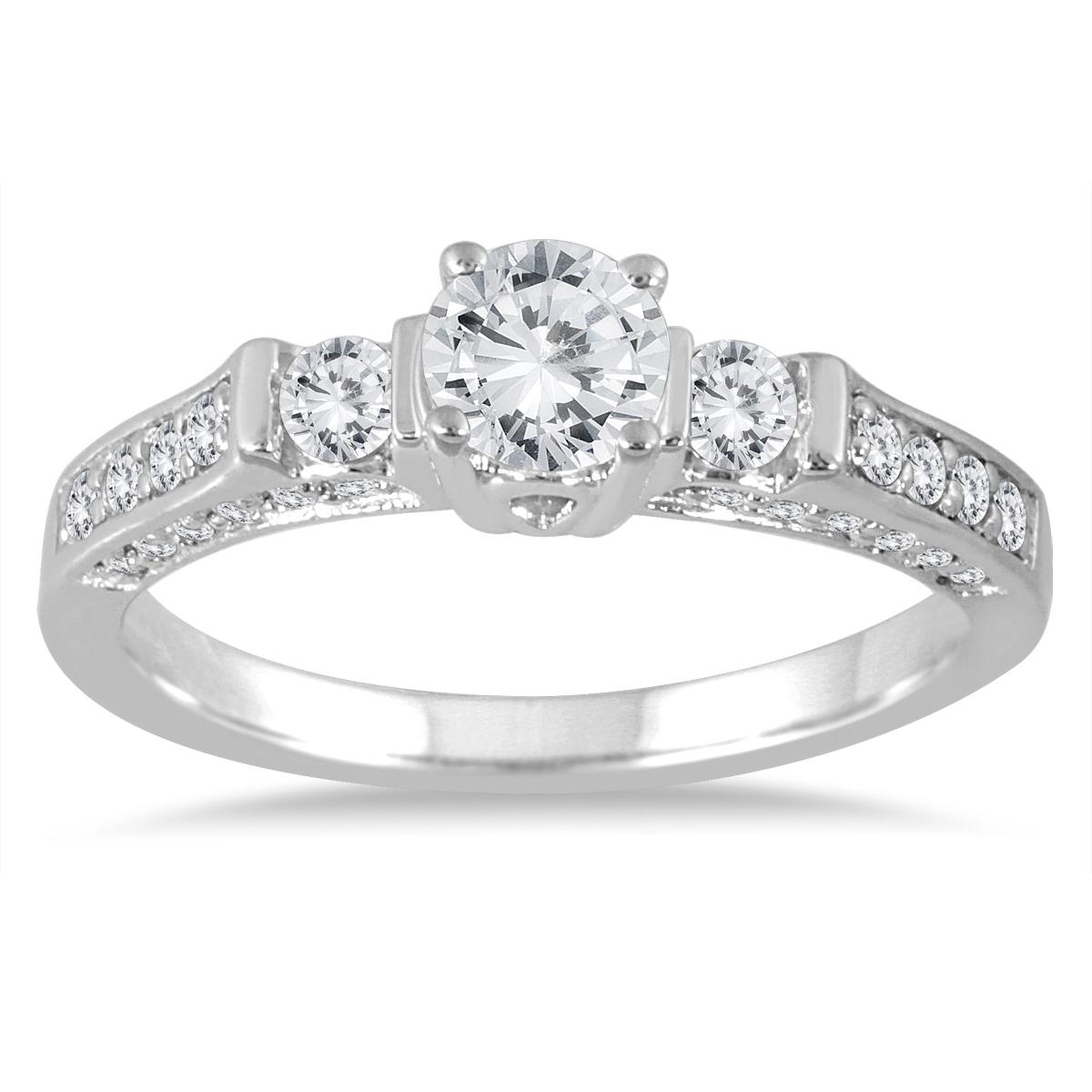 1 Carat TW Three Stone Diamond Ring in 14K White Gold