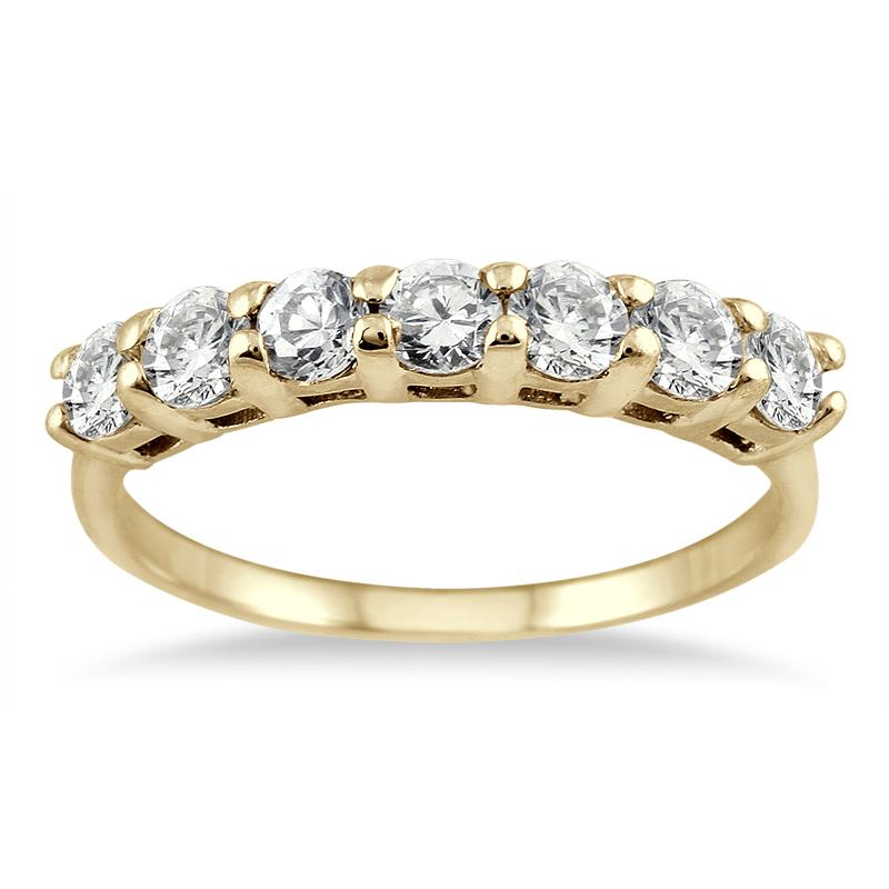 1 Carat TW Seven Stone Diamond Wedding Band in 14K Yellow Gold
