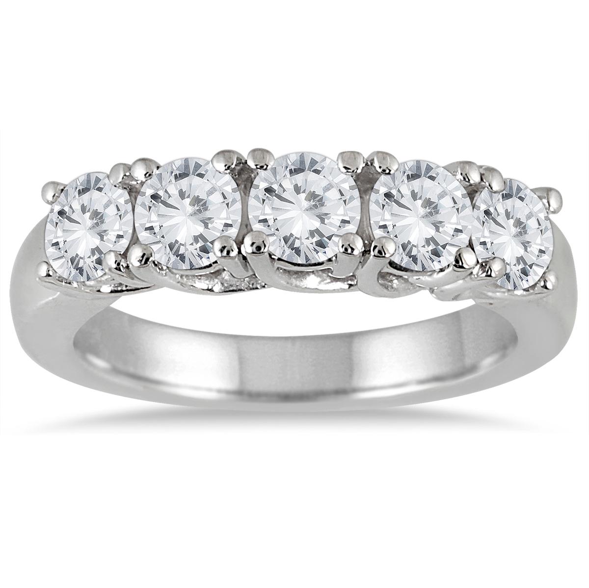 2 Carat TW Five Stone Diamond Wedding Band in 14K White Gold