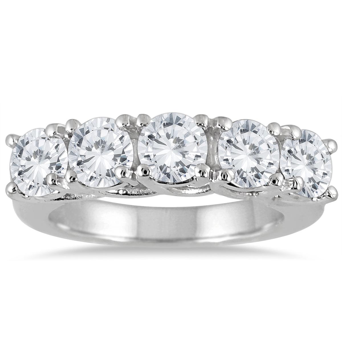 3 Carat TW Five Stone Diamond Wedding Band in 14K White Gold