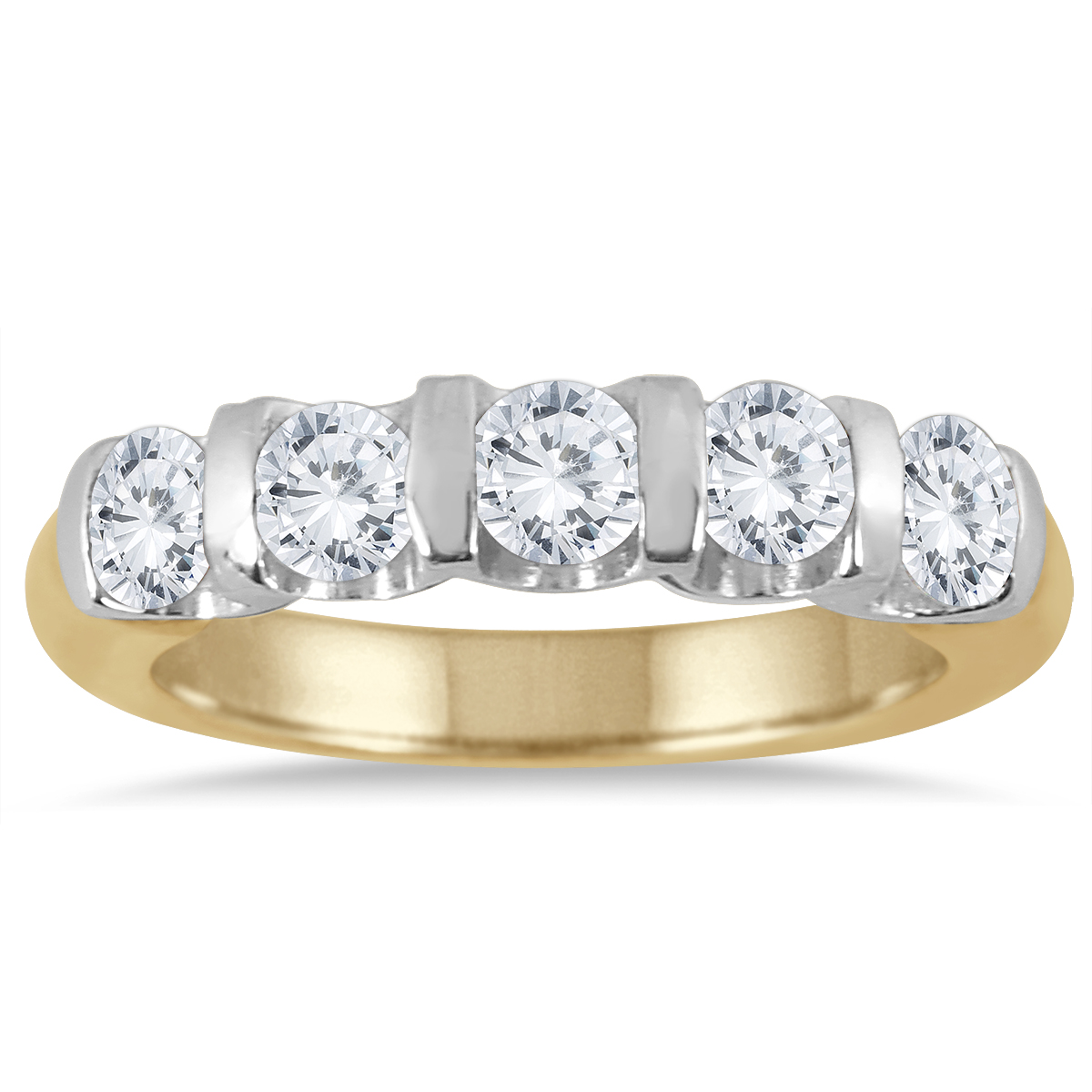 1 Carat Five Stone Diamond Wedding Band in 14K Two Tone Gold thumbnail
