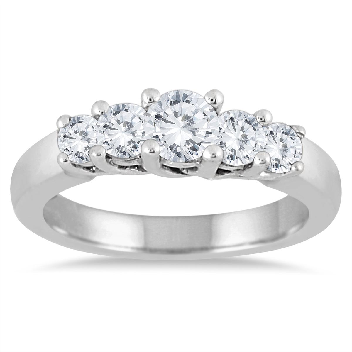 1 Carat TW Five Stone Diamond Wedding Band in 10K White Gold
