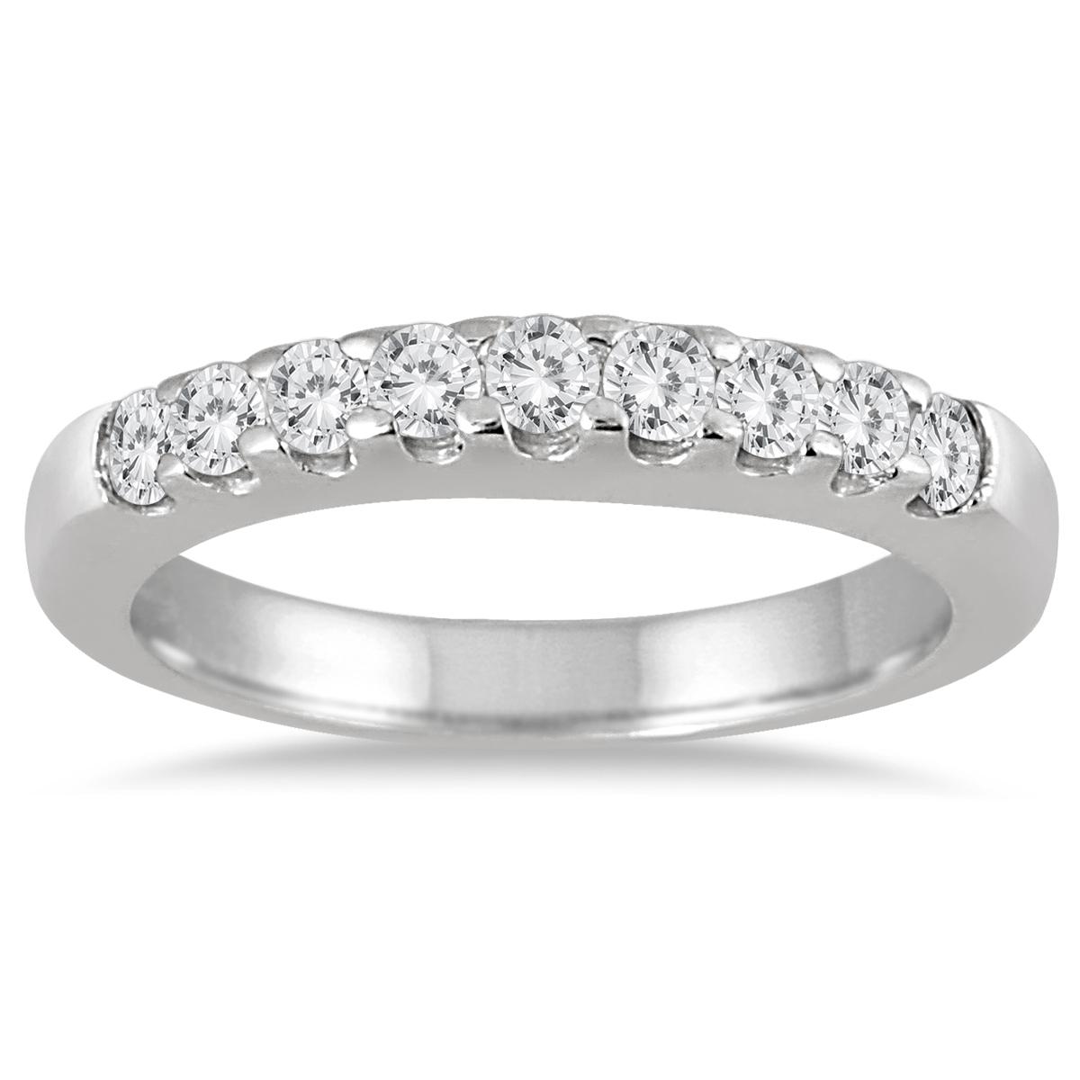 1/2 Carat TW Nine Stone Diamond Wedding Band in 10K White Gold