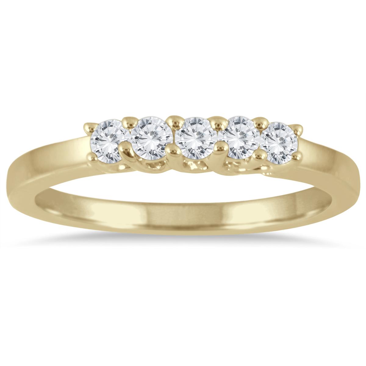 1/4 Carat TW Five Stone Diamond Wedding Band in 14K Yellow Gold