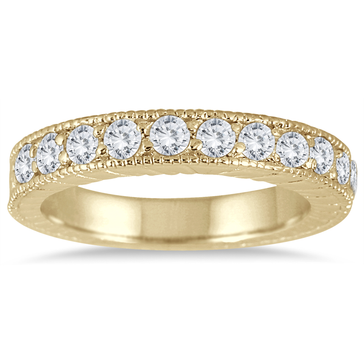 1/2 Carat TW Antique Styled Engraved Diamond Band in 10K Yellow Gold