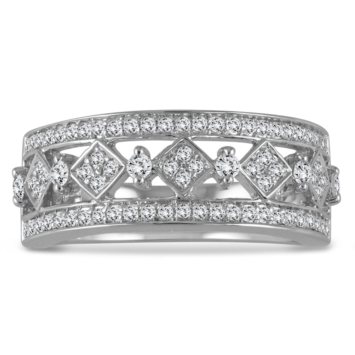 1/2 Carat TW Diamond Byzintine Inspired Ring in 10K White Gold RGF56682