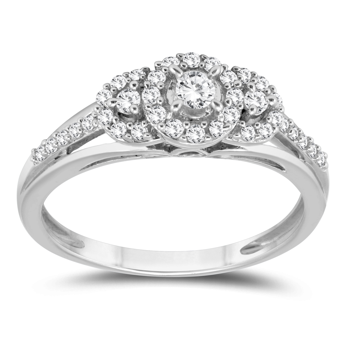 1/3 Carat TW Three Stone Halo Ring