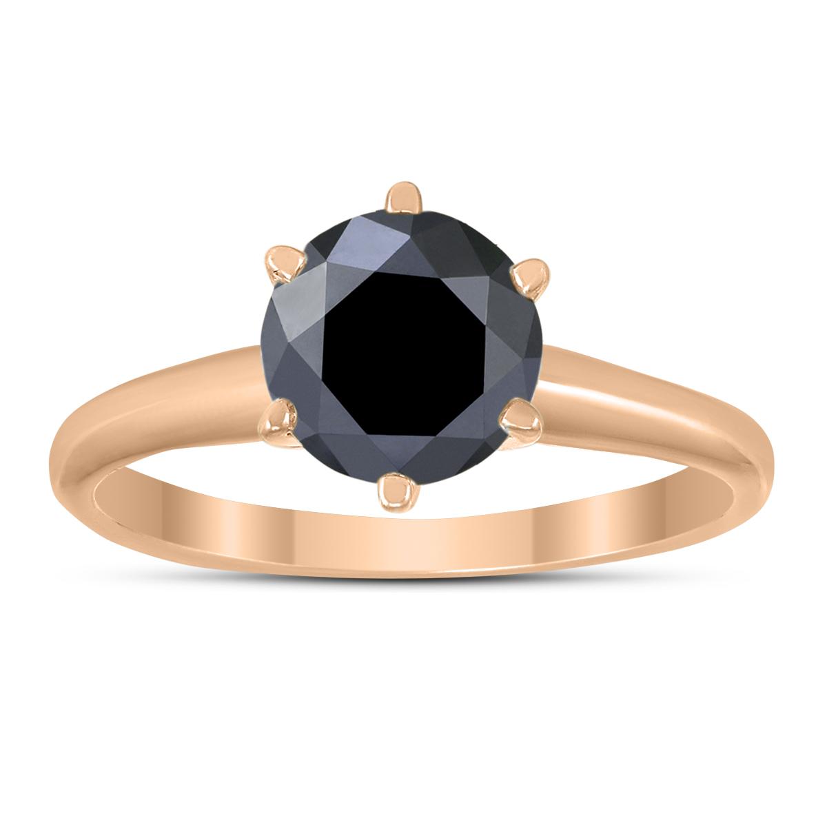 1 1/2 Carat Round Black Diamond Solitaire Ring in 14K Rose Gold