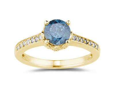 1 1/5 Carat TW Blue and White Diamonds Ring in 14K Yellow Gold