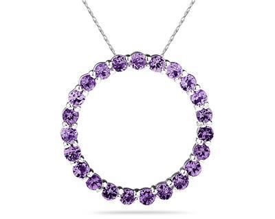 Purple amethyst circle pendant
