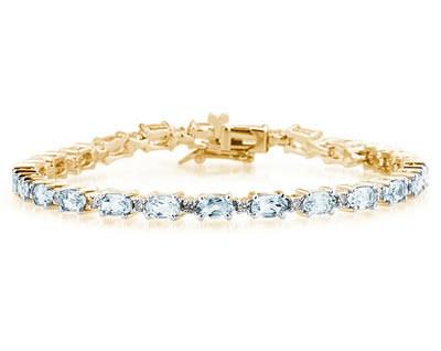 14k Yellow Gold Diamond and Aquamarine Bracelet SPB8121AQ