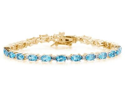 14k Yellow Gold Diamond and Blue Topaz Bracelet SPB8121BT