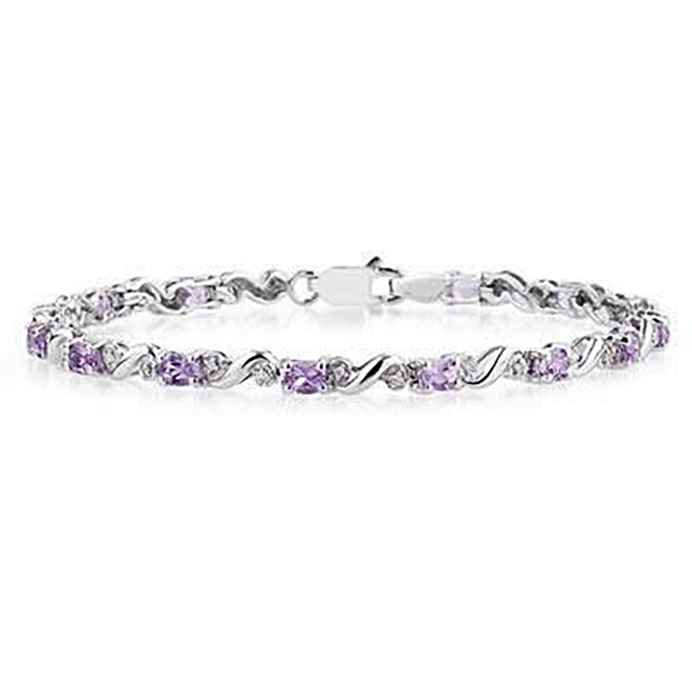 10k White Gold Diamond and Amethyst Bracelet