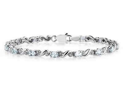 10k White Gold Diamond and Aquamarine Bracelet