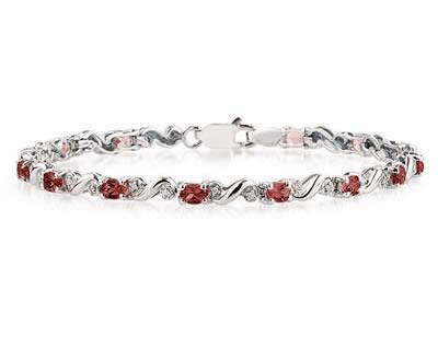 10k White Gold Diamond and Garnet Bracelet SPB8127GT