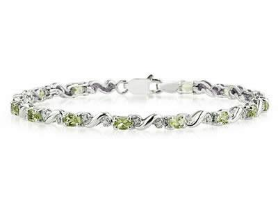 10k White Gold Diamond and Peridot Bracelet