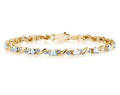 10k Yellow Gold Diamond and Aquamarine Bracelet SPB8128AQ