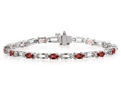 14k White Gold Diamond and Garnet Bracelet SPB8129GT