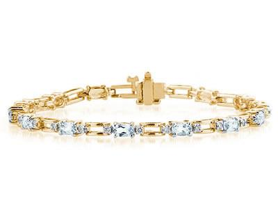 14k Yellow Gold Diamond and Aquamarine Bracelet SPB8130AQ