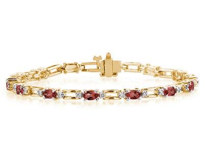 14k Yellow Gold Diamond and Garnet Bracelet SPB8130GT