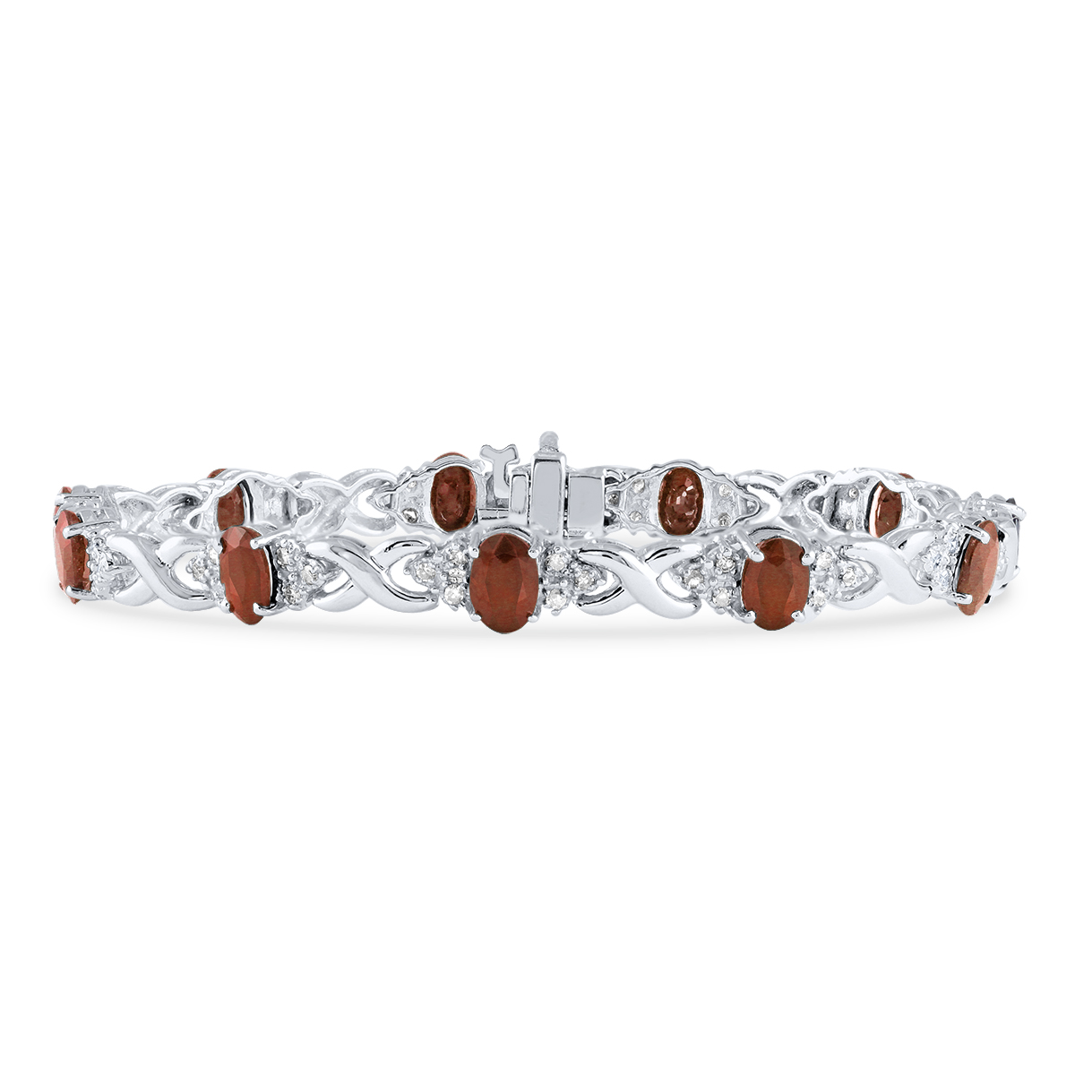 14k White Gold Diamond and Garnet Bracelet SPB8139GT