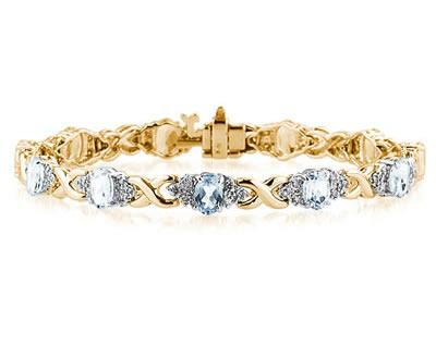 14k Yellow Gold Diamond and Aquamarine Bracelet SPB8140AQ