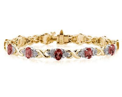14k Yellow Gold Diamond and Garnet Bracelet SPB8140GT
