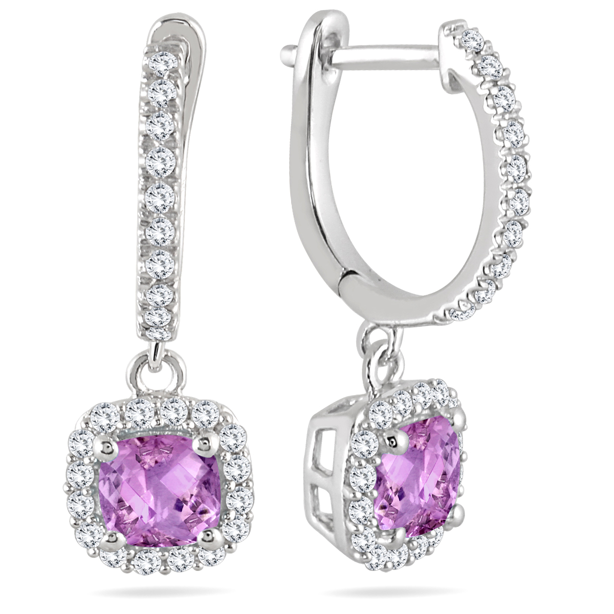 1 Carat Amethyst and Diamond Halo Dangle Earrings in 10K White Gold