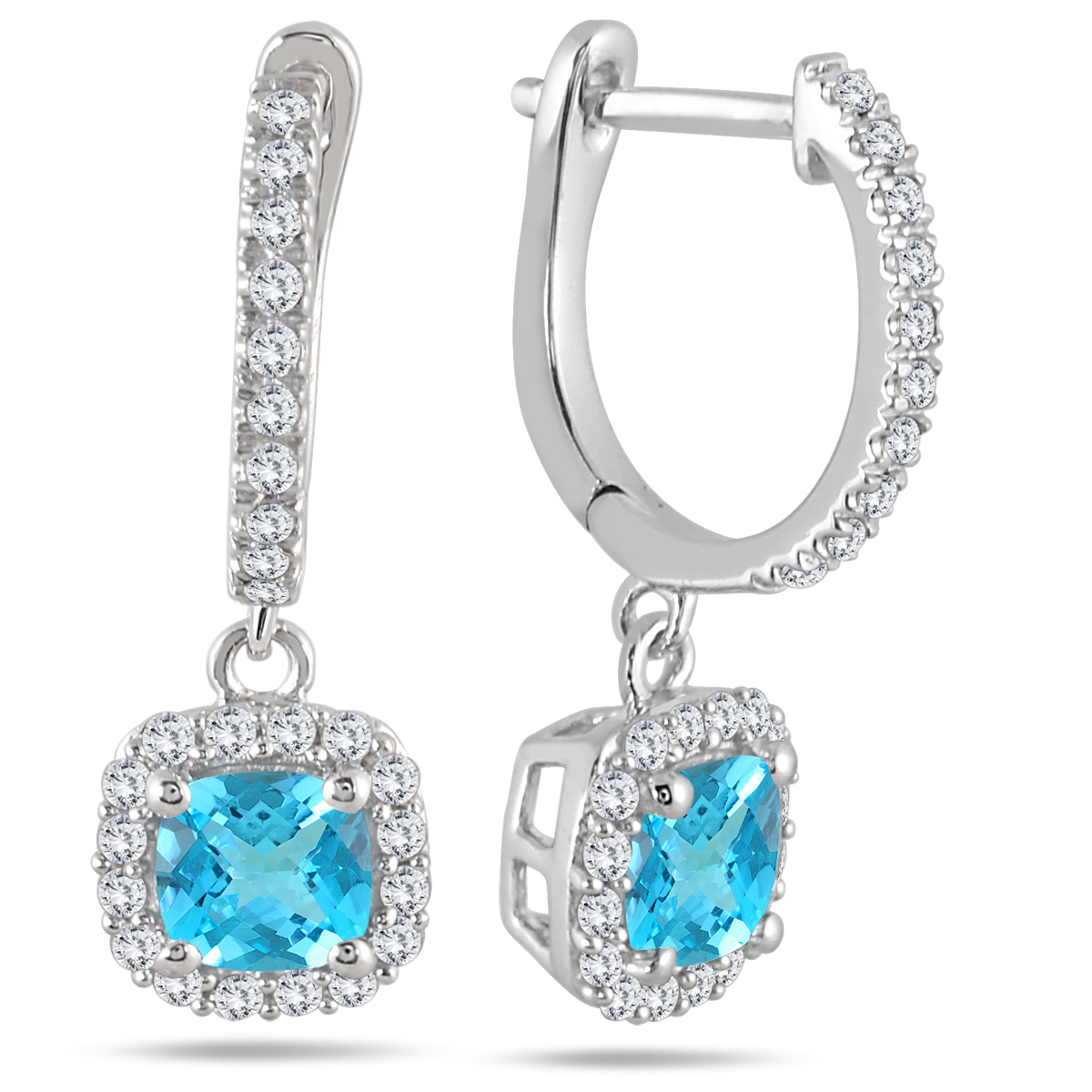 1 Carat Blue Topaz and Diamond Halo Dangle Earrings in 10K White Gold