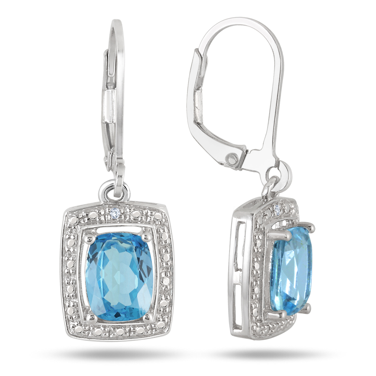 A beautiful pair of genuine gemstone and diamond earrings featuring radiant cut blue topaz gemstone framed in a sterling silver setting set with sparkling white diamonds. Each earring features a center 8x6mm radiant cut blue topaz weighing 2.50 carats in total. 2 diamonds weigh 0.01 carats in total with a J-K-L color, I2-I3 clarity. Earrings secure with durable lever back setting crafted in .925 sterling silver.
