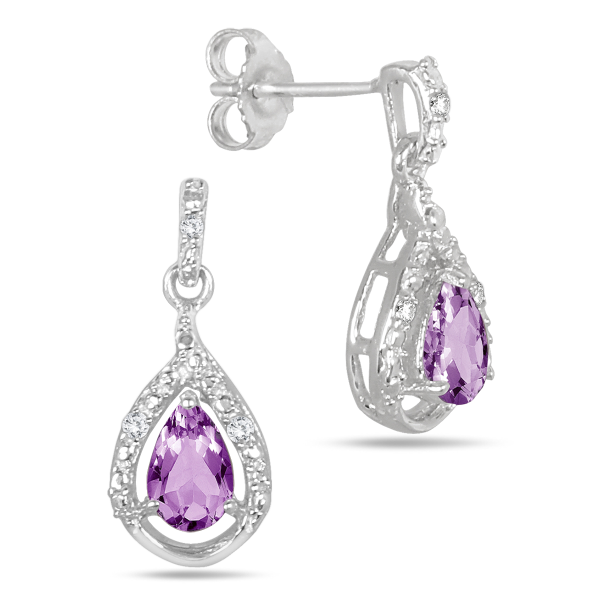 0.70 Carat T.W Amethyst and Diamond Earrings in .925 Sterling Silver