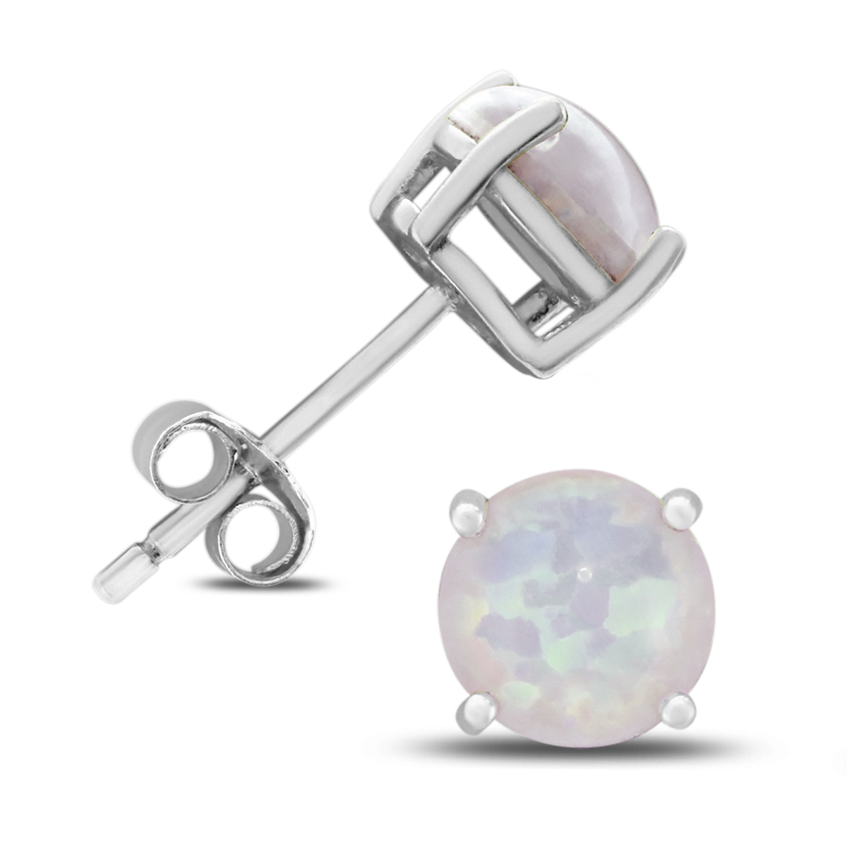 6MM Created Opal Stud Earrings in .925