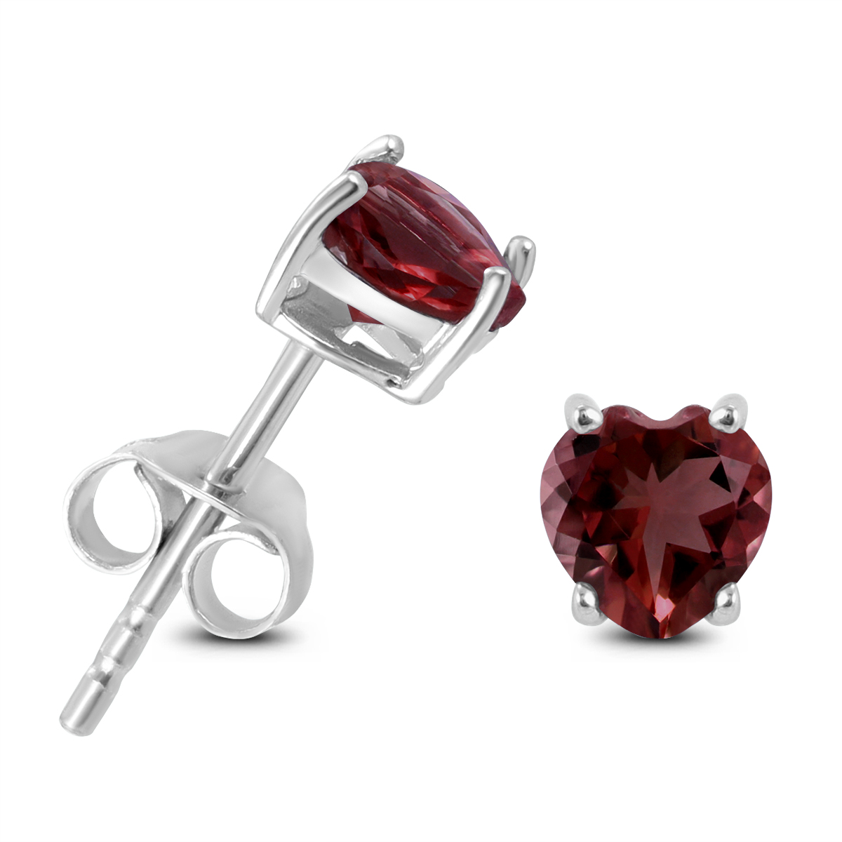 5mm Heart Shaped Garnet Earrings in .925